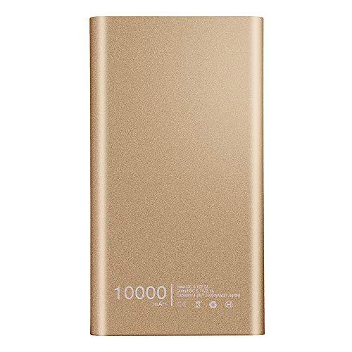 Wokee Tragbare Ultradünne Powerbank 10000mAh,Dual USB Externer Power Bank für Smartphones (Golden) (Ps3 Gelbes Licht)