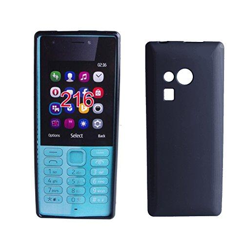 MaxKu Nokia 216 Hülle, Soft Kratzfest Hülle Rutschfest Shock Proof Kohlefaser Rück Schale silikon Cover Case Schutz für Nokia 216, Schwarz