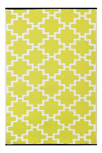 Green Decore 90x 150 cm 'Solitude' Alfombra Ecológica para Interiores y Exteriores de Plástico Reciclado - Ligera y Reversible - Indoor / Outdoor - Verde Apio / Blanco