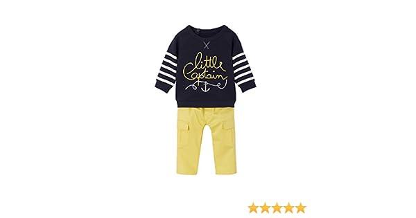 796c1c8974d70 VERTBAUDET Ensemble sweat molleton + pantalon toile bébé garçon Lot encre +  jaune 3M - 60CM: Amazon.fr: Bébés & Puériculture