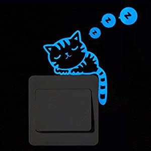 Hukz Leuchtsticker Kinderzimmer Wandaufkleber Wandsticker Nette Kreative Kätzchen Katze Glow Switch Wandtattoo Home…