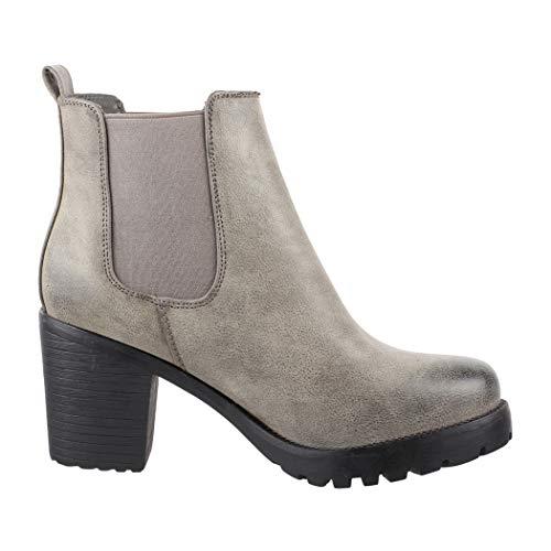 Elara Damen Stiefelette | Bequeme Ankle Boots | Chunkyrayan Neue-KA523sl New-Dk.Grey-40