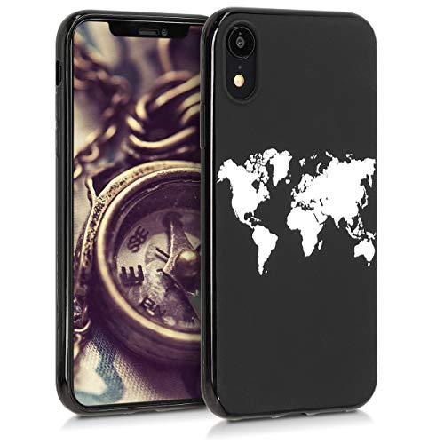 kwmobile Apple iPhone XR Hülle - Handyhülle für Apple iPhone XR - Handy Case in Travel Umriss Design Weiß Schwarz -