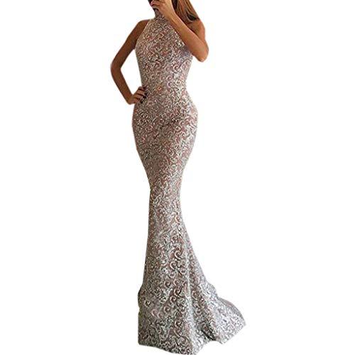Bluestercool - Abito da sera, da donna, sexy, alla moda, con paillettes, abito da ballo, abito da damigella d'onore X-Large Rose-8