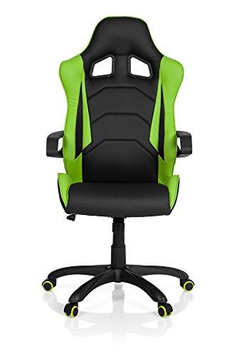 hjh OFFICE 621884 Sedia da gaming/Sedia da ufficio RACER PRO I similpelle nero/verde, per giocatori, meccanismo oscillante, braccioli fissi, poggiatesta integrato, comoda, ergonomica, altezza regolabile