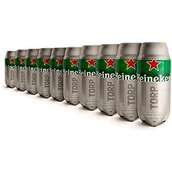 Heineken TORP®- Pack de 10 - Barril de cerveza de 2L de capacidad compatible con THESUB