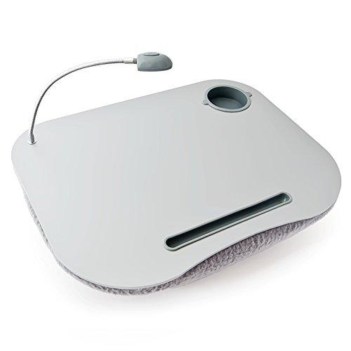 Foto de Relaxdays 10012569 - Mesa para portátil, soporte para ordenador portátil, luces LED y portavasos, color blanco