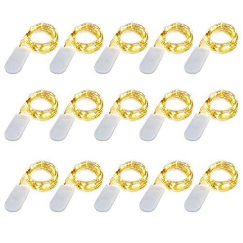 15 x 20 LEDs Guirlande lumineuse Blanc Chaud, SiFar 2M guirlande lumineuse pile, bande lumière liège Guirlande Lumineuse Liège Lampes pour DIY Maison Decoration Mariage Soirée [Classe énergétique A+]