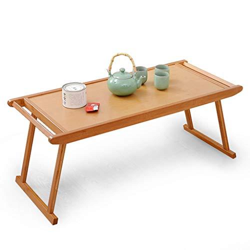 ZXW Klapptisch- Faltbarer einfacher antiker Bambustisch, Hauptbettstudentisch-Couchtisch (Farbe : Holzfarbe, größe : 76x43x29cm)