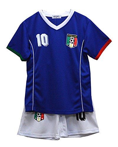 Completo estivo da calcio con pantaloncini e maglietta, da bambina, Misure 2–12anni, BNWT blu italia