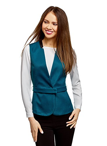 oodji Collection Donna Gilet con Cintura e Finiture in Ecopelle Turchese (6C00N)
