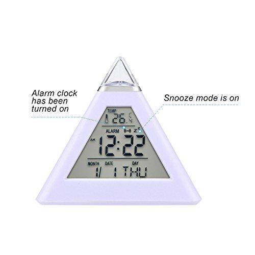 Despertadores, [Regalo] HAMSWAN Reloj Alarma, Clock, Despertador Cambiado Entre 7 Colores con 8 Tonos Regalo y la Fecha Reaciona Automáticamente Temperatura