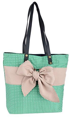 Cute allover Dots Beige BOW Canvas TASCHE / Bag Rockabilly - Cute Canvas Taschen