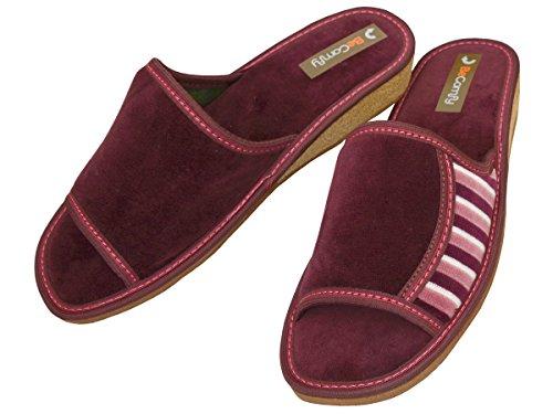 BeComfy Hausschuhe Baumwolle Damen Pantolette Komfort Kork Pantoffeln Latschen Modell DN01 Burgund
