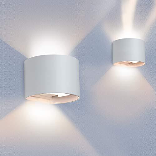2er Set LED Wandleuchte Innen Außen Warmweiß mit Einstellbar Abstrahlwinkel Up Down 12W IP65 Wasserdicht