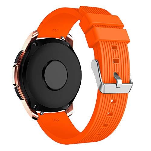 YBWZH Weiche Silikon-Uhrenarmband-Ersatzarmband für Samsung Galaxy Watch 42mm(Orange) (Pebble-uhr-ersatz-akku)