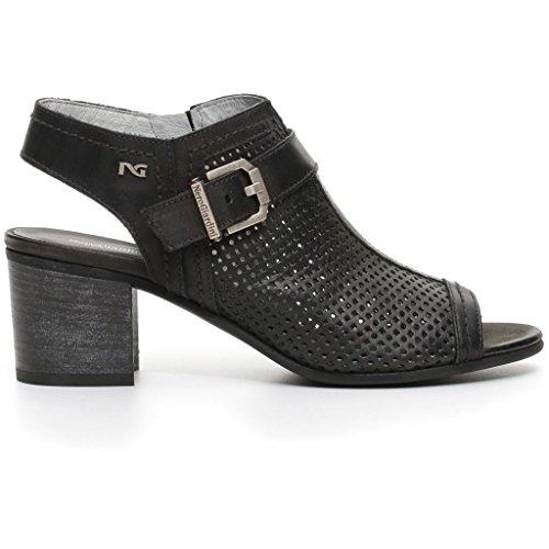 Nero Giardini donna sandali spuntati neri cuoio o beige (champagne) P717770D scarpe in pelle estate 2017 Nero