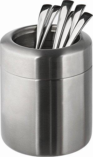 APS poubelle de table / récipients pour couverts Ø 10 cm, H: 12 cm acier inoxydable, poli mat
