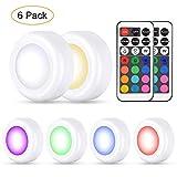 6pcs Luci Multicolore a LED per Armadio con 13 colori e 4 modalità, Lampada senza fili RGB dimmerabile batteria caricata con telecomando per cucina, mensola