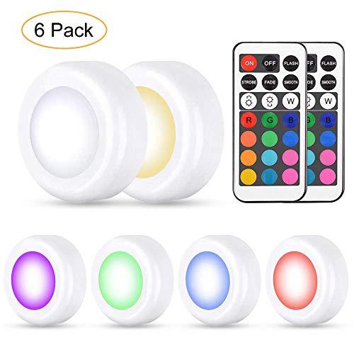 Preisvergleich Produktbild 6er RGB Schrankleuchten Led Nachtlicht mit 13 Farben und 4 Modi,  Dimmbare Multicolor LED Unterbaubeleuchtung Leuchtmittel Batteriebetrieben mit Fernbedienung für Küche,  Schränke,  Regal,  Flur