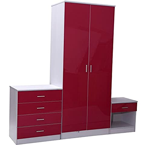 HOMCOM High Gloss Bedroom Furniture 3 Piece Set Trio Wardrobe Bedside Table 4 Drawers Chest Pink