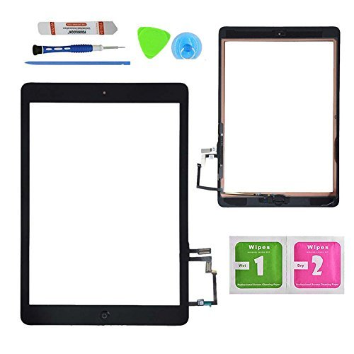 MONKEY 555 Monkey Black Digitizer Touch Screen Outer Glass Panel for iPad Air 1st Gen Generation with Home Button Flex Cable Assembly + Premium Tools + Adhesive Tape