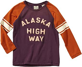 Scotch & Soda Shrunk Jungen Hemd 13440750513 worked out college tee with contrast sleeve,104 (4), Mehrfarbig (B - dessin B)