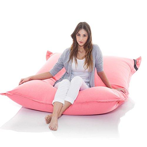 Manitou INDOOR Sitzsack ROSA - 100% Baumwolle - 180 cm x 140 cm - Inhalt 500 Liter - Made in Germany - abziehbarer Bezug - 30 Jahre Garantie