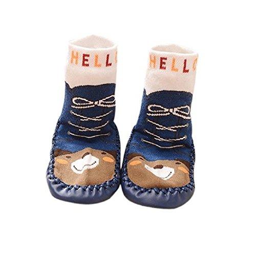 Auxma Baby-Mädchen-Kind-nette Karikatur-Affe-Kleinkind -Anti-Rutsch-Socken-Schuh-Stiefel Slipper Socken Alter 0-6 18 24 Monate (6-18 Monat, Blau)