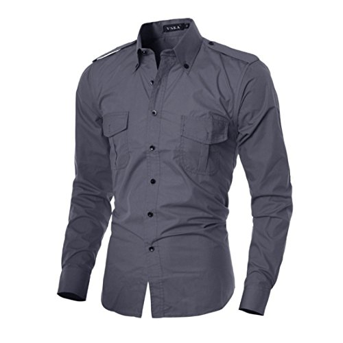 Men's Double Pocket Design Long Sleeve Fancy Slim Fit Shirts gray