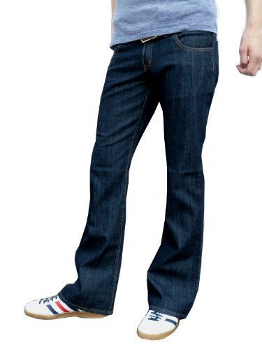 Herren Indigoblau Bootcut ausgestellt Jeans Indie Retro - Blau, 36W x 34L