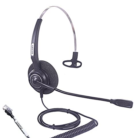Arama Wired Headset Corded Mono w Noise Cancelling Mikrofon für Aastra Adtran Alcatel Lucent Allworx AltiGen AVAYA Comdial Digium Gigaset Inter Tel Mitel Mivoice Tronics Festnetz Tischtelefone (A200S1)
