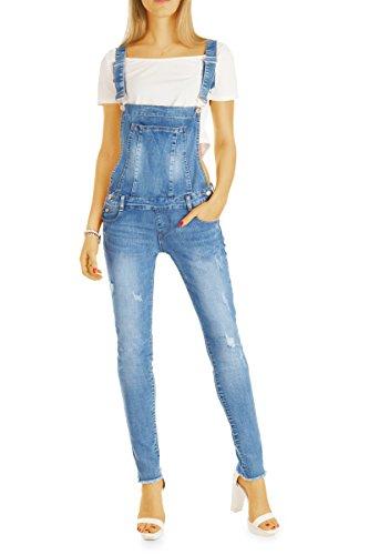Bestyledberlin Damen Jeans-Latzhose, Skinny Fit Jeanshosen, Used Look Jeans j32g 38/M