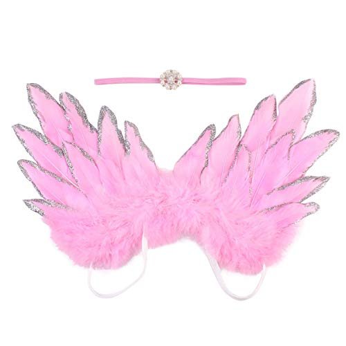 BigBig Style Baby Neugeborenes Baby Foto Prop Kostüm Cute Angel Wings und Stirnband Fotografie Requisiten Junge Mädchen Zubehör (Color : Pink)