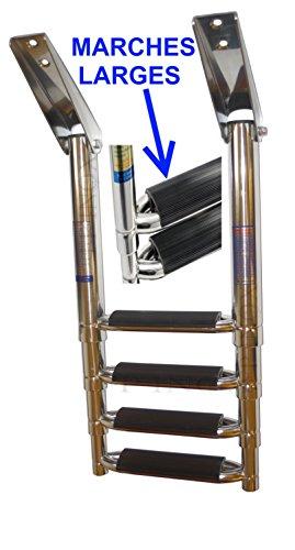 Escalera telescópica acero inoxidable 316barco 4peldaños (peldaños extra anchos para plataforma Inox 316-A4