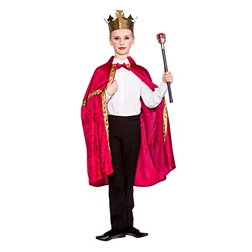 Deluxe King/Queen Robe & Crown Burgundy (8-10) (Ideen Boy Kostüm School)