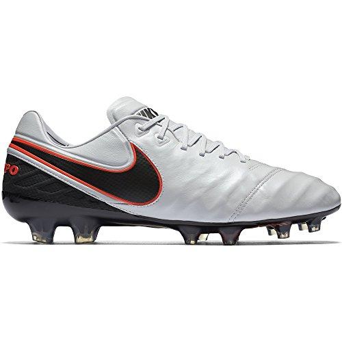 Nike Tiempo Legend Vi Fg, Chaussures de Foot Homme, Gris, UK Multicolore - Blanco / Negro / Naranja (Pr Pltnm / Blk-Mtllc Slvr-Hypr O)