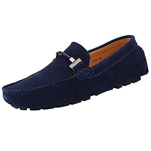 Jamron uomo elegante fibbia scarpe di guida buona qualità scamosciato mocassino blu marino sn19020 eu44