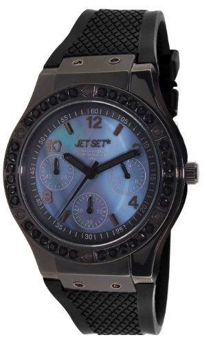 Jet Set - J6820B-037 - Beverly Hills - Montre Femme - Quartz Chronographe - Cadran Bleu - Bracelet Caoutchouc Noir