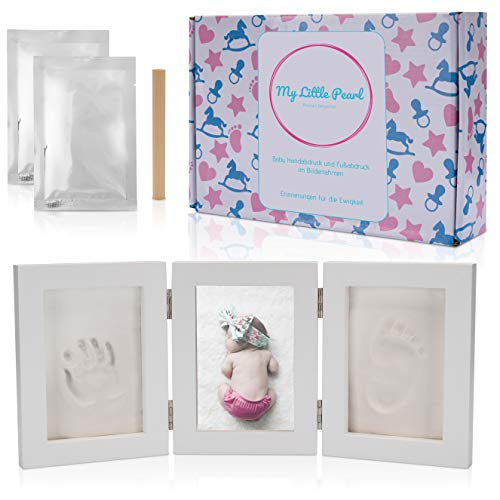 Baby Handabdruck und Fußabdruck Bilderrahmen Set, ein Abdruckset als besonderes Geschenk / Andenken zur Geburt für Neugeborene, auch für Babyabdrücke von 0-1 Jahre geeignet