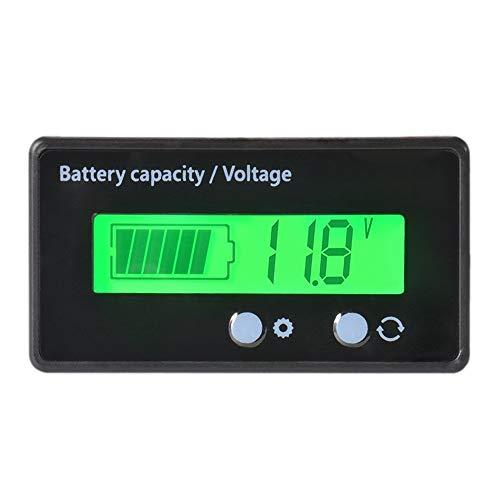 Nrpfell Impermeabile 12/24/36 / 48V LCD Batteria al Piombo e Batteria al Litio Capacita' Tester Misuratore di Tensione Monitor retroilluminazione Verde per Batteria del Veicolo