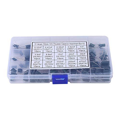 ARCELI Wert Polyester Kondensator 150 stücke 100 V 15 Wert 0,33nF-470nF Polyester Filmkondensatoren Sortiment Kit Box Box Polyester