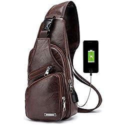 Pawaca Bolso de cuero del pecho de los hombres, bolso de Crossbody Bolsos de la honda Mochila Messenger Bag Daypack para negocios Casual Sport Senderismo viajes