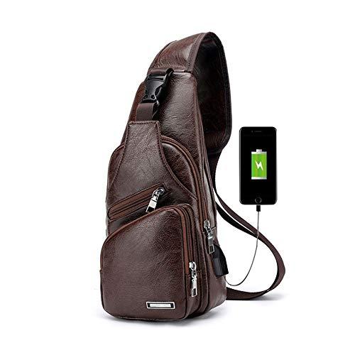 Leder Hobo Sling (Pawaca Herren Sling Schultertasche, PU-Leder Outdoor-Brusttasche mit USB-Port Casual Umhängetasche Satchel Rucksack für Herren Business, Wandern, Reisen)