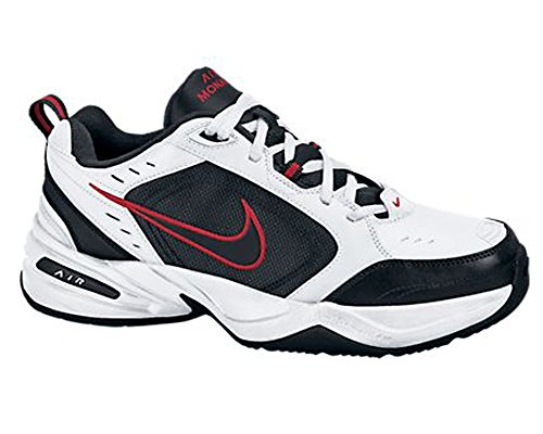 Nike leather-and-synthetic Air Monarch IV training scarpe White / Black-Varsity Red