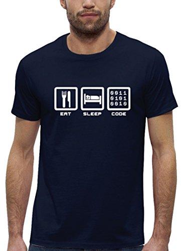Gamer Premium Herren T-Shirt aus Bio Baumwolle mit EAT SLEEP CODE Marke Stanley Stella Navy