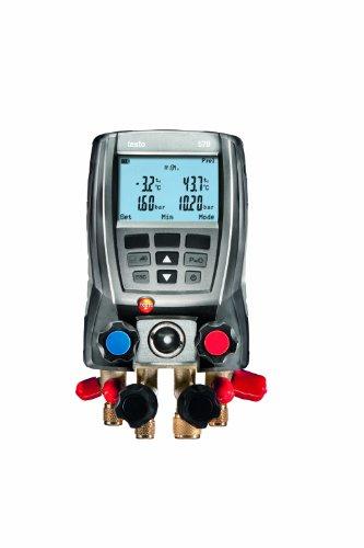 Testo 0563 5701 570-1 Set digitale Monteurhilfe für alle Messaufgaben, 4-Wege-Ventilblock, interner Datenspeicher, integrierte Vakuummessung