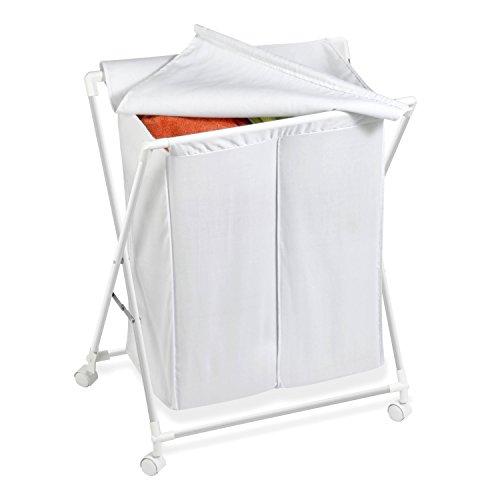 Honey Can Do HMP-01386 - Cesto Clasificador Para La Ropa Sucia Con Ruedas Y Dos Compartimentos, Blanco