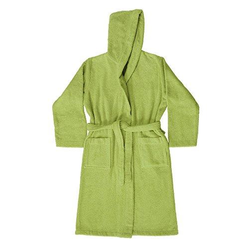 Vetrineinrete® accappatoio con cappuccio e tasca in spugna di cotone 100% leggero unisex uomo e donna utile in viaggio e in palestra (verde, l)