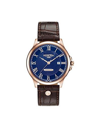 Roamer Herren Datum klassisch Quarz Uhr mit Leder Armband 706856 49 42 07